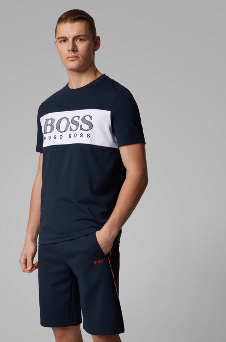 Color-block T-shirt with mesh-effect logo print, Dark Blue
