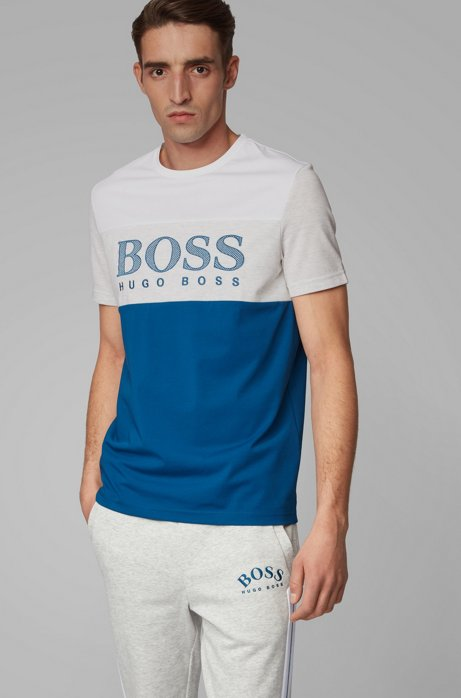 Color-block T-shirt with mesh-effect logo print, Blue