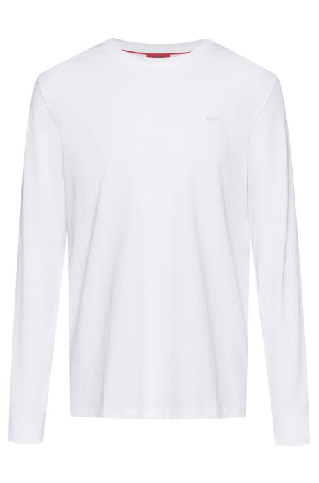 Long-sleeved cotton T-shirt with reverse-logo print, White