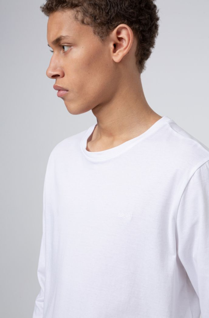 Long-sleeved cotton T-shirt with reverse-logo print