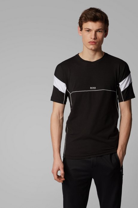 Slim-fit T-shirt with S.Café® and contrast details, Black