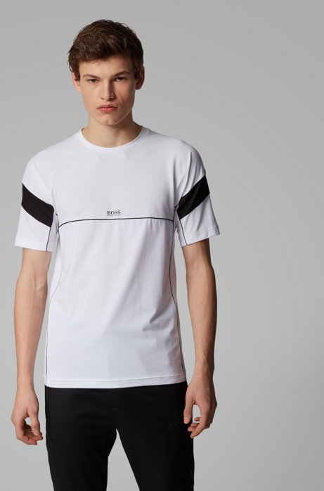 Slim-fit T-shirt with S.Café® and contrast details, White
