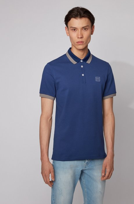 Slim-fit polo shirt with transparent-rubber trims, Dark Blue