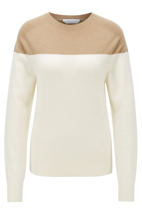 Color-block sweater in pure cashmere, Patterned