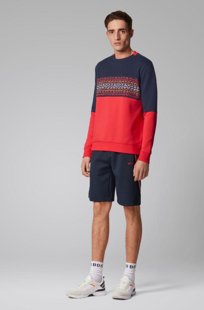 Cotton-blend sweatshirt with repeat-logo jacquard insert