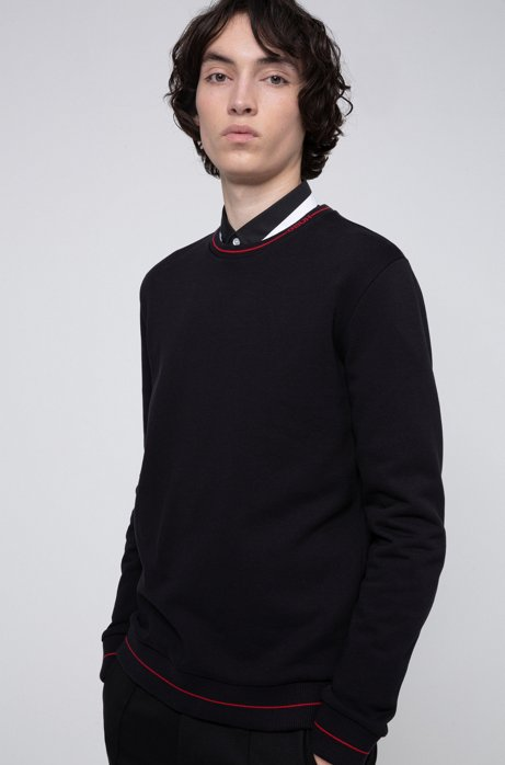 Regular-fit sweater in French terry with logo neckline, Black