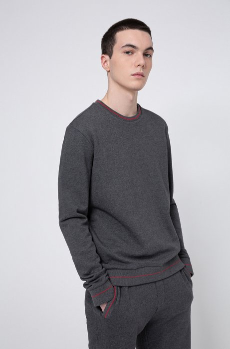Regular-fit sweater in French terry with logo neckline, Light Grey