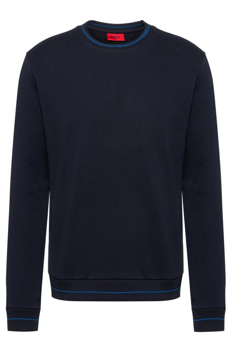 Regular-fit sweater in French terry with logo neckline, Dark Blue