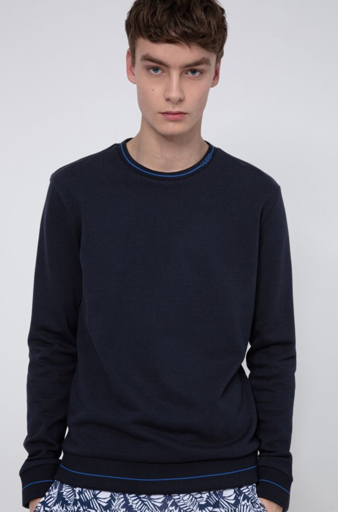 Regular-fit sweater in French terry with logo neckline