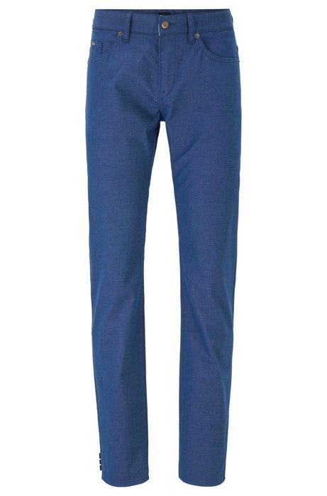 Slim-fit jeans in structured stretch cotton, Dark Blue