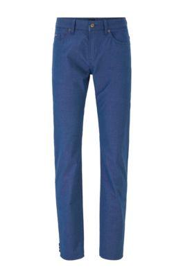 Slim-fit jeans in structured stretch cotton, Dark Blue
