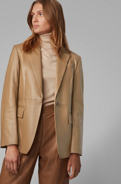 Regular-fit tailored jacket in plongé leather, Light Brown