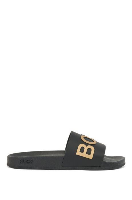 Italian-made slides with logo strap and contoured sole, Black