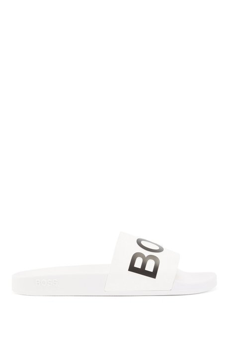 Italian-made slides with logo strap and contoured sole, White