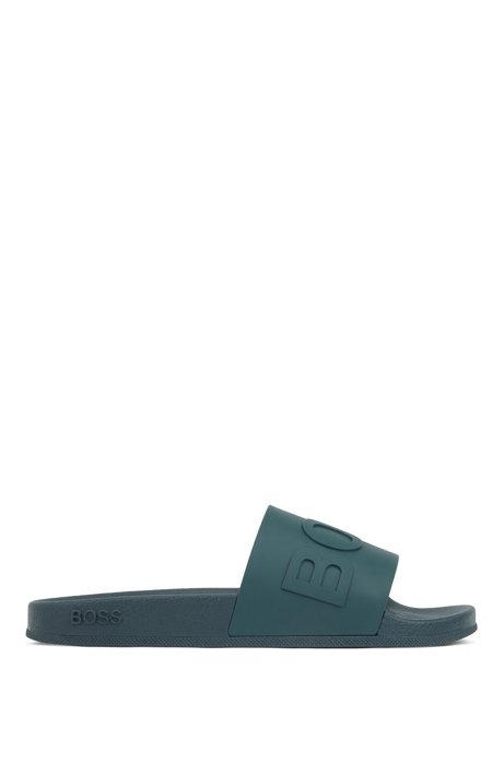 Italian-made slides with logo strap and contoured sole, Dark Green