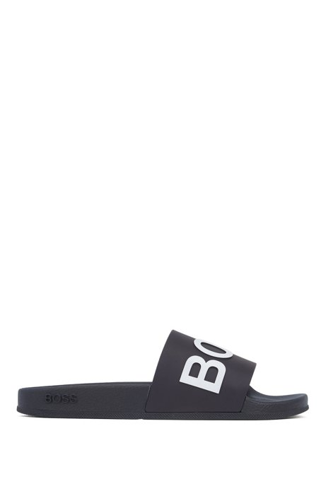 Italian-made slides with logo strap and contoured sole, Dark Blue