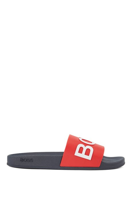 Italian-made slides with logo strap and contoured sole, Open Blue