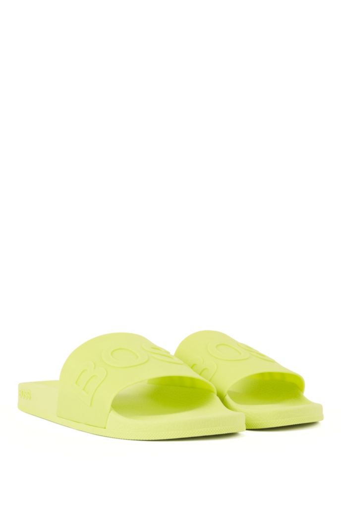Italian-made slides with logo strap and contoured sole