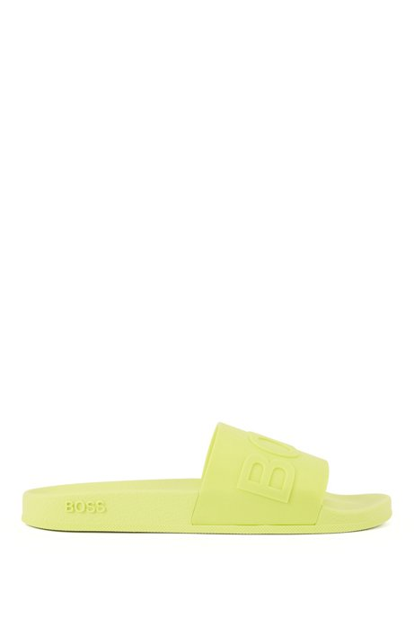 Italian-made slides with logo strap and contoured sole, Yellow