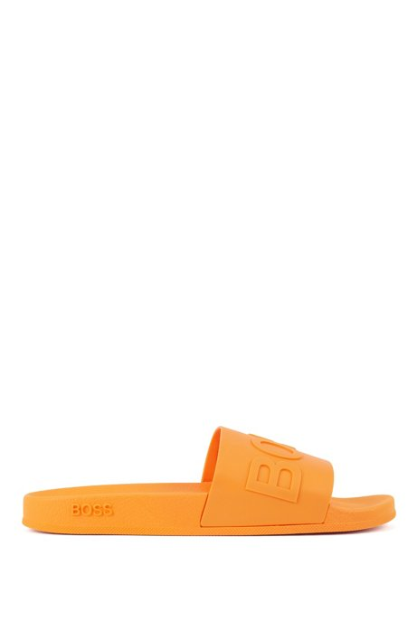 Italian-made slides with logo strap and contoured sole, Orange