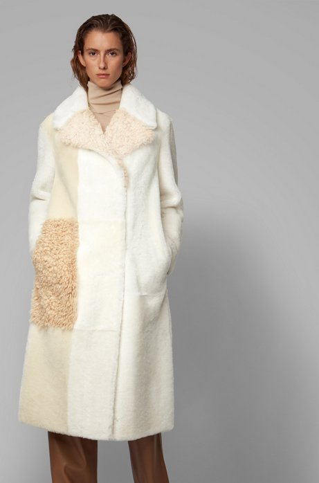 Longline patched coat in Toscana and lambskin shearling, Natural