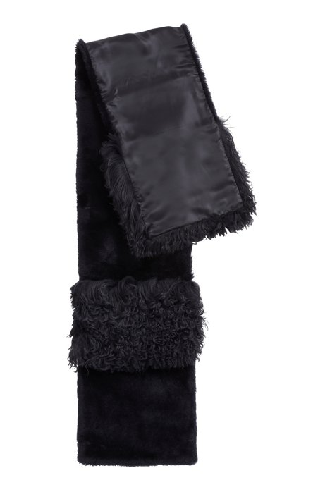 Patched scarf in Mongolian and lambskin shearling, Open Blue