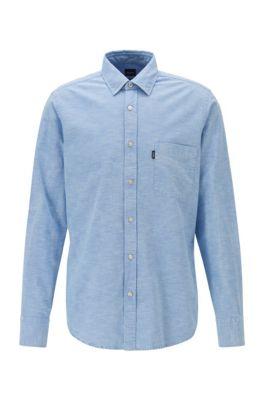 Regular-fit shirt with snow-bleached effect, Light Blue