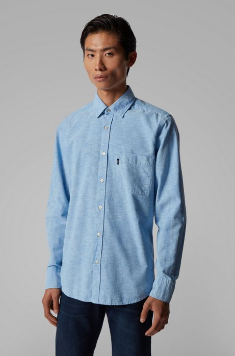 Regular-fit shirt with snow-bleached effect, Light Blue