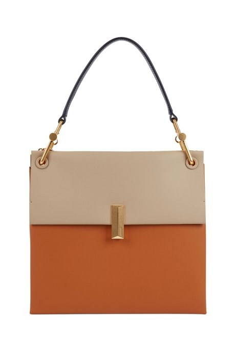 Large Kristin shoulder bag in color-block Italian leather, Brown