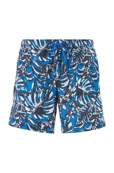 Drawstring-waist swim shorts with all-over print, Open Blue