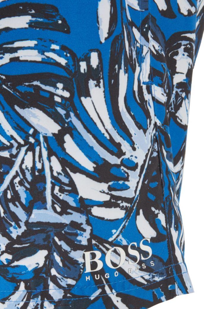 Drawstring-waist swim shorts with all-over print