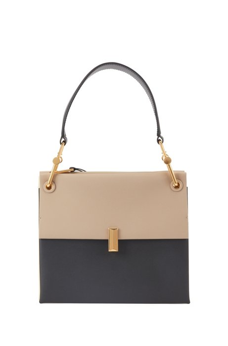 Medium Kristin shoulder bag in color-block Italian leather, Natural