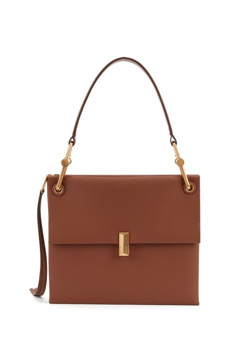 Medium Kristin shoulder bag in color-block Italian leather, Light Brown