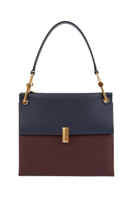 Medium Kristin shoulder bag in color-block Italian leather, Dark Red