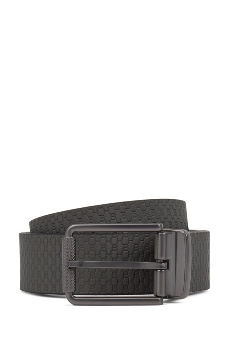 Reversible belt with plain and monogrammed sides, Dark Grey