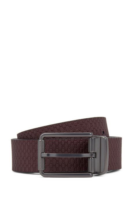 Reversible belt with plain and monogrammed sides, Dark Red