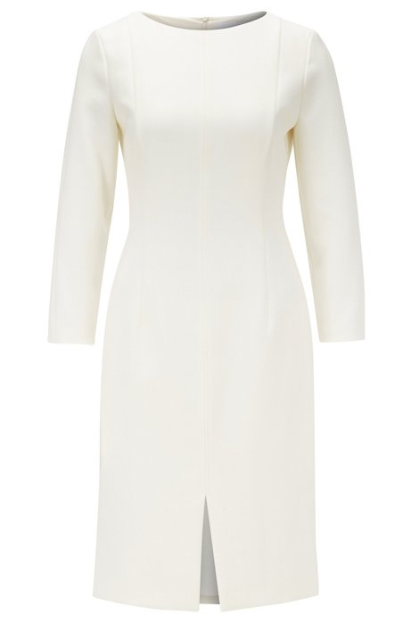 Wide-neck dress with full lining and feature seams, Natural