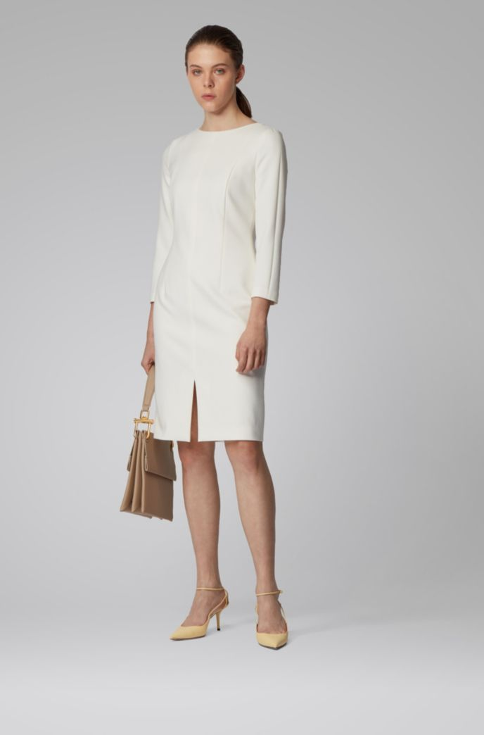 Wide-neck dress with full lining and feature seams