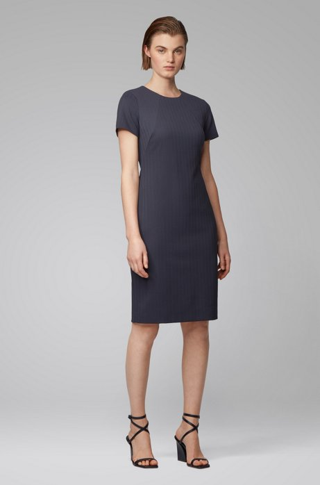 Shift dress in Italian herringbone jersey, Open Blue