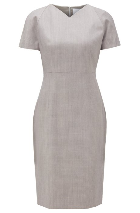 V-neck dress with short sleeves in virgin wool, Patterned