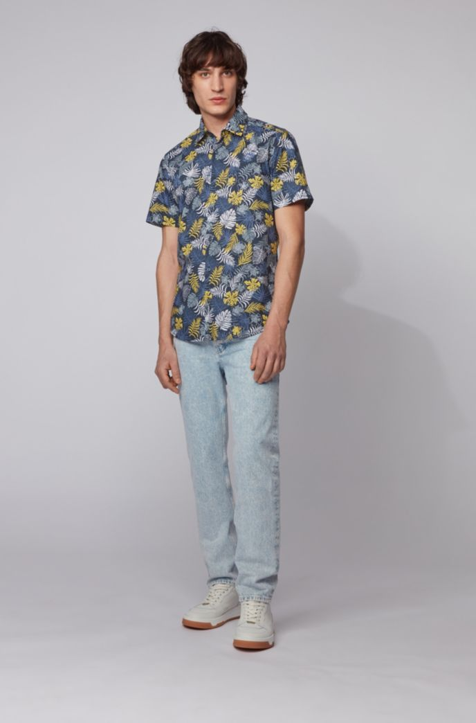 Cotton-canvas regular-fit shirt with tropical print