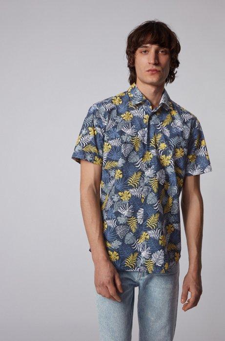Cotton-canvas regular-fit shirt with tropical print, Dark Blue