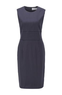 Pinstripe shift dress in traceable wool with stretch, Patterned