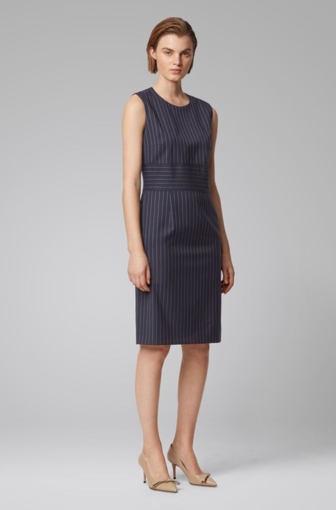 Pinstripe shift dress in traceable wool with stretch