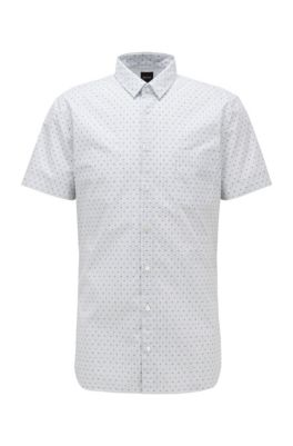 Slim-fit shirt in patterned stretch cotton, White