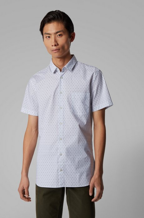 Slim-fit shirt in patterned stretch cotton, Natural