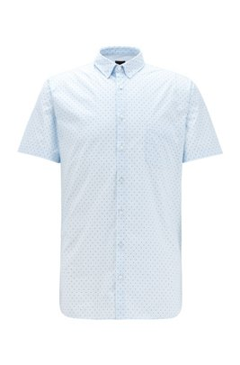 Slim-fit shirt in patterned stretch cotton, Light Blue