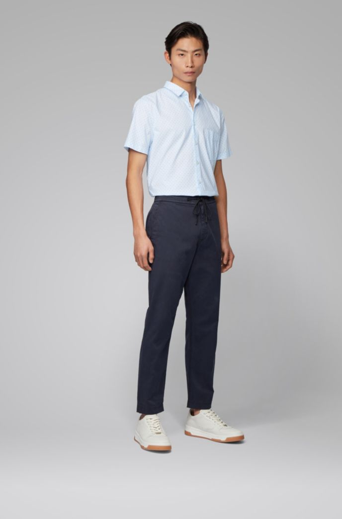 Slim-fit shirt in patterned stretch cotton