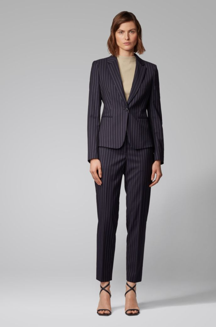 Regular-fit pants in traceable stretch wool with pinstripe