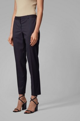 Regular-fit pants in traceable stretch wool with pinstripe, Patterned